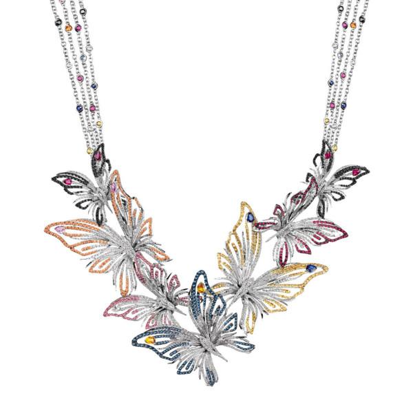 Колье Damiani Masterpieces Butterfly белое золото, бриллианты, рубины сапфиры