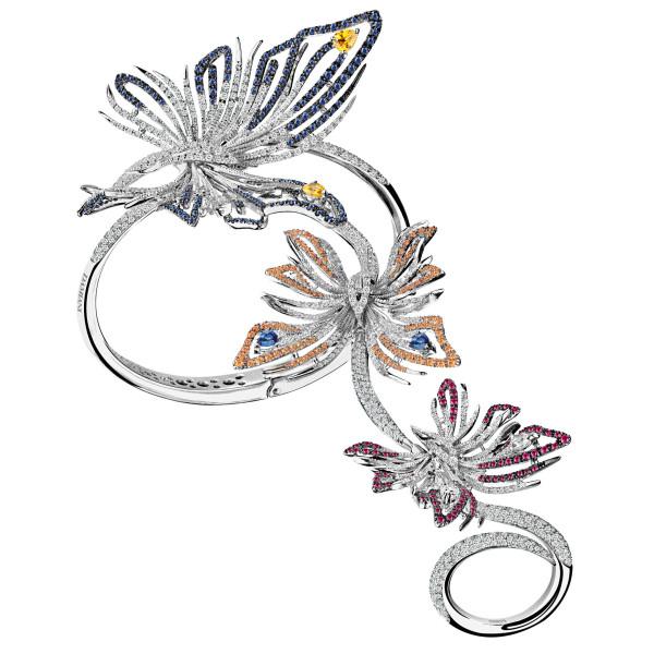 Браслет Damiani Masterpieces Butterfly белое золото, бриллианты, сапфиры