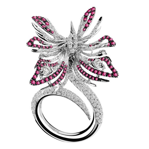 Кольцо Damiani Masterpieces Butterfly белое золото, бриллианты, рубины