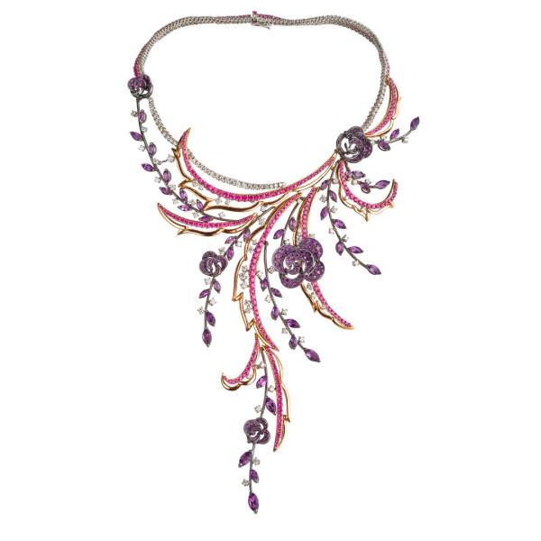 Колье Damiani Masterpieces Carmen белое, розовое золото, бриллианты, сапфиры, аметисты