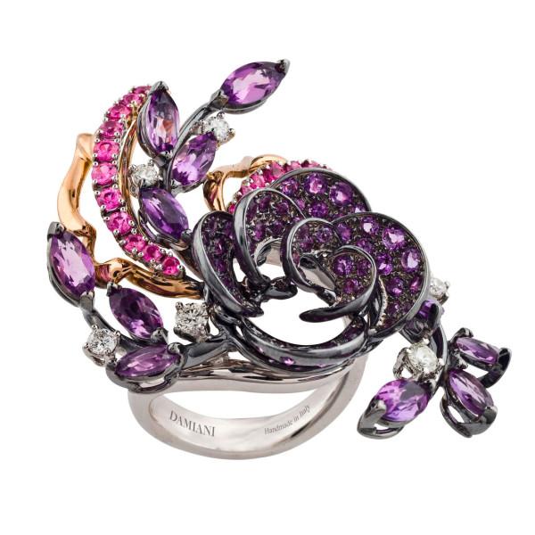 Кольцо Damiani Masterpieces Carmen белое, розовое золото, бриллианты, сапфиры, аметисты