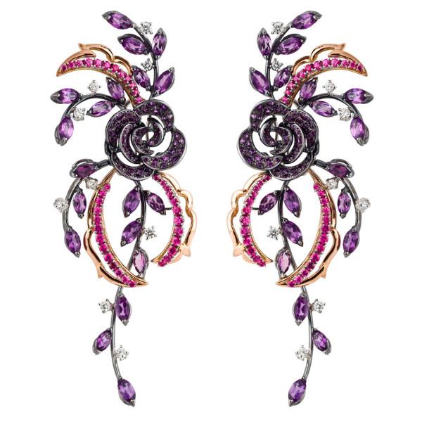 Серьги Damiani Masterpieces Carmen белое, розовое золото, бриллианты, сапфиры, аметисты
