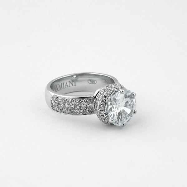 Кольцо Damiani белое золото 750, бриллианты