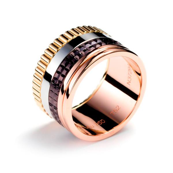 Кольцо Boucheron Quatre, белое, желтое, розовое, коричневое золото