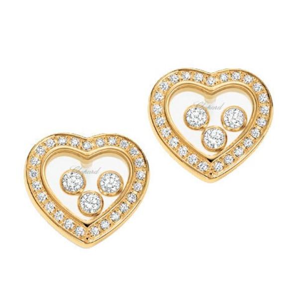 Серьги Chopard Diamond Heart, желтое золото 750, бриллианты