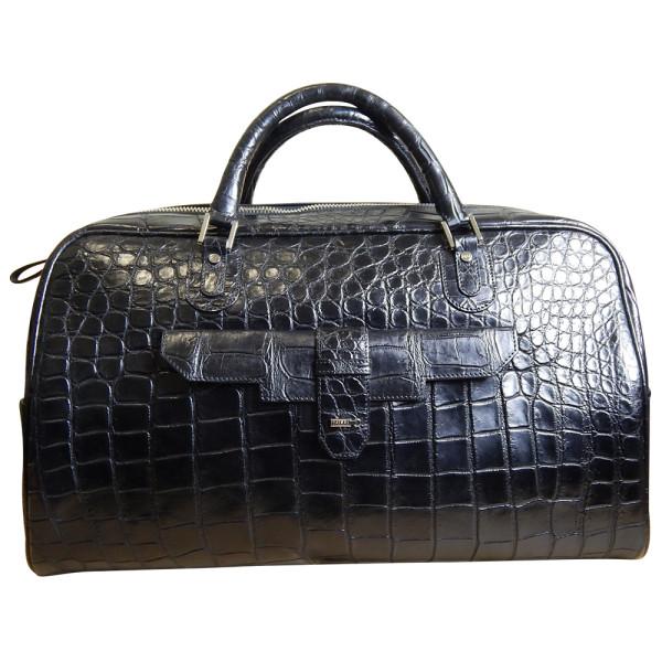 Дорожная сумка черного цвета, Zilli, кожа крокодила