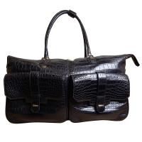 Дорожная сумка Zilli, кожа крокодила черного цвета