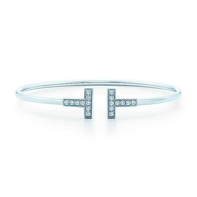 Браслет Tiffany T Wire Bracelet, белое золото 750, бриллианты