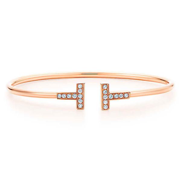 Браслет Tiffany T Wire, розовое золото, бриллианты (33263538)