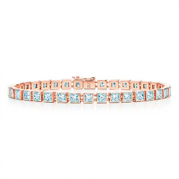 Браслет Tiffany T Diamond Line, розовое золото, бриллианты (33891768)