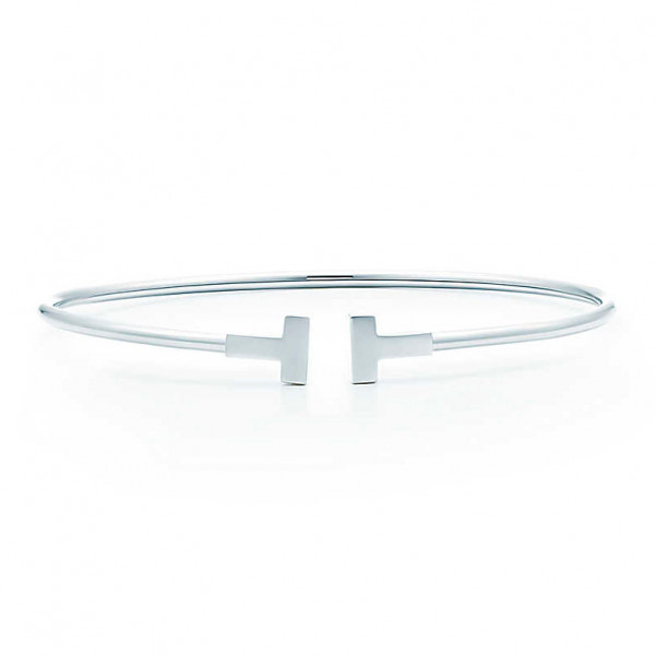 Браслет Tiffany T Narrow Wire, белое золото (33430175)