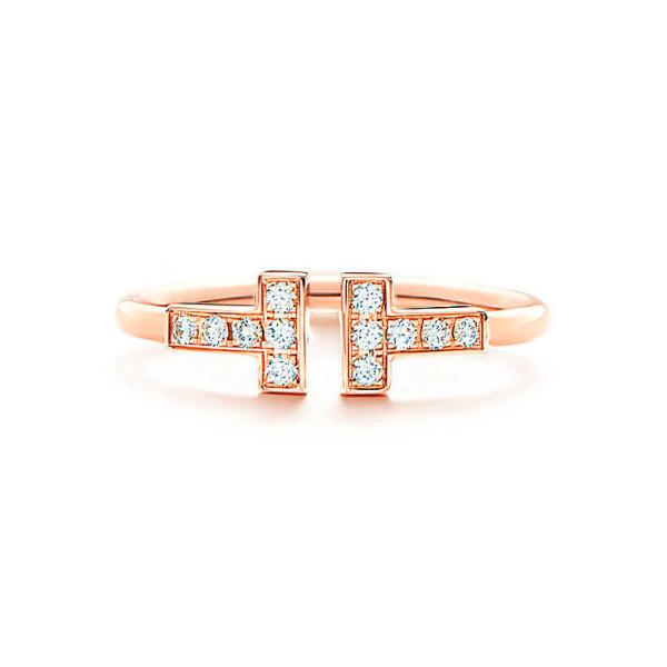 Кольцо Tiffany T Wire, розовое золото, бриллианты (33282559)