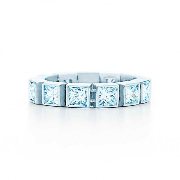 Кольцо Tiffany T Diamond Line, белое золото, бриллианты (33399731)