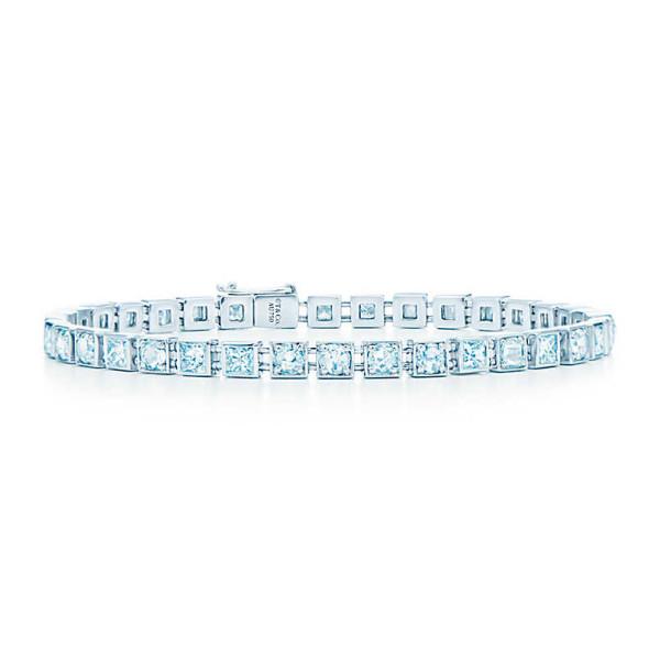 Браслет Tiffany T Diamond Line, белое золото, бриллианты (33399529)
