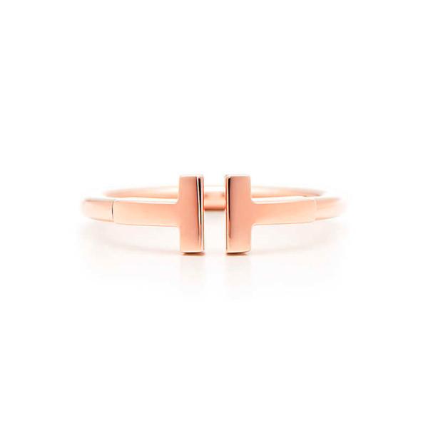 Кольцо Tiffany T Wire, розовое золото (33418876)