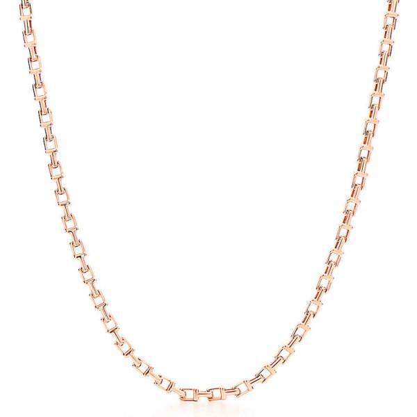 Ожерелье Tiffany T Narrow Chain, розовое золото (33408285)