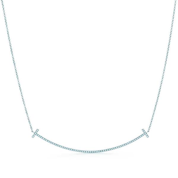 Подвеска Tiffany T Smile, белое золото, бриллианты (33823304)
