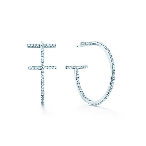 Серьги-кольца Tiffany T Wire, белое золото, бриллианты (33430019)