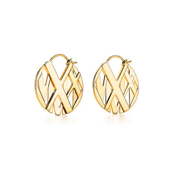 Серьги-кольца Tiffany & Co Atlas, желтое золото (32995233)