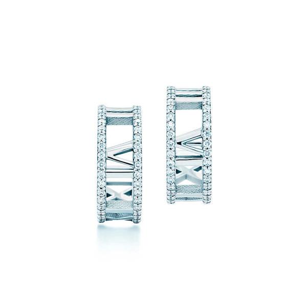 Серьги-кольца Tiffany & Co Atlas, белое золото, бриллианты (33475276)