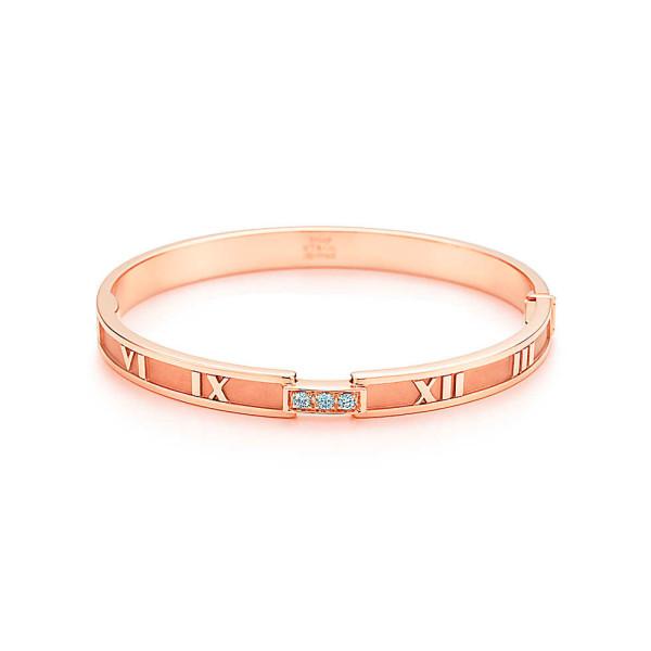 Шарнирный браслет Tiffany & Co Atlas, розовое золото, бриллианты (25841883)