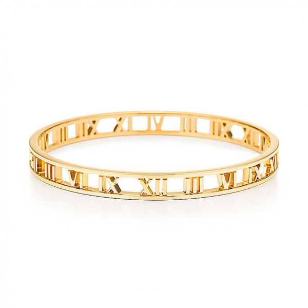 Узкий открытый браслет Tiffany & Co Atlas, желтое золото (32641571)