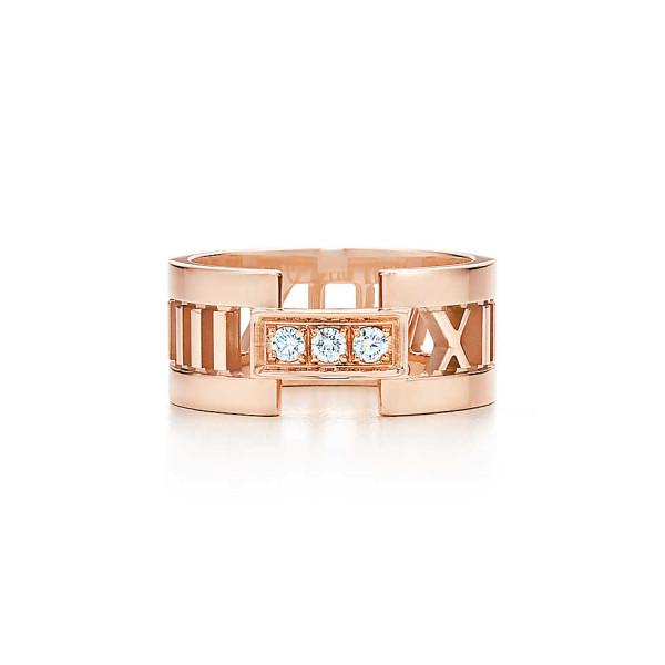 Открытое кольцоTiffany & Co Atlas, розовое золото, бриллианты (32649068)