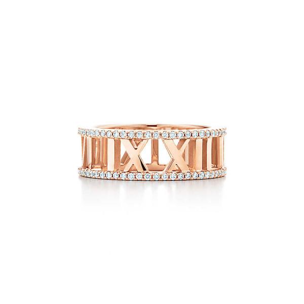 Открытое кольцоTiffany & Co Atlas, розовое золото, бриллианты (32648002)