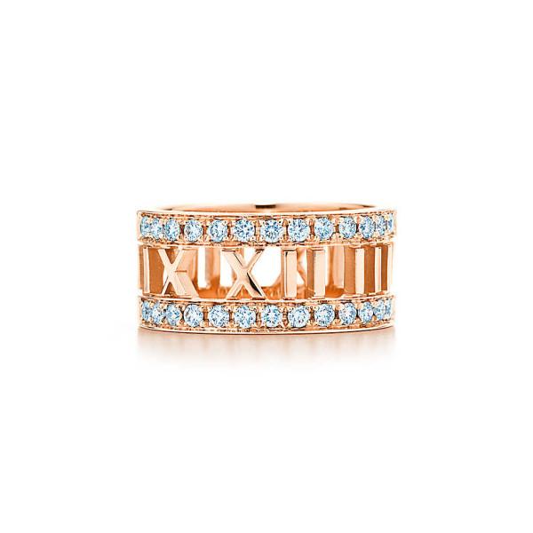 Открытое кольцоTiffany & Co Atlas, розовое золото, бриллианты (30421469)