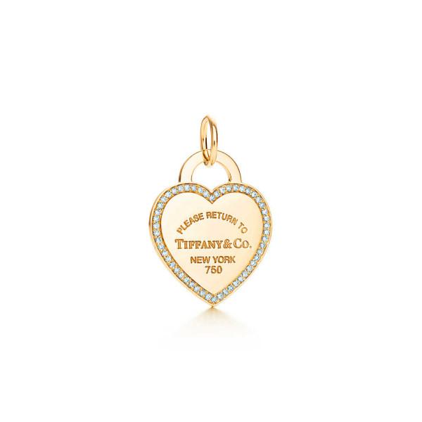 Подвеска-жетон в форме сердца Return to Tiffany, желтое золото, бриллианты (26883288)