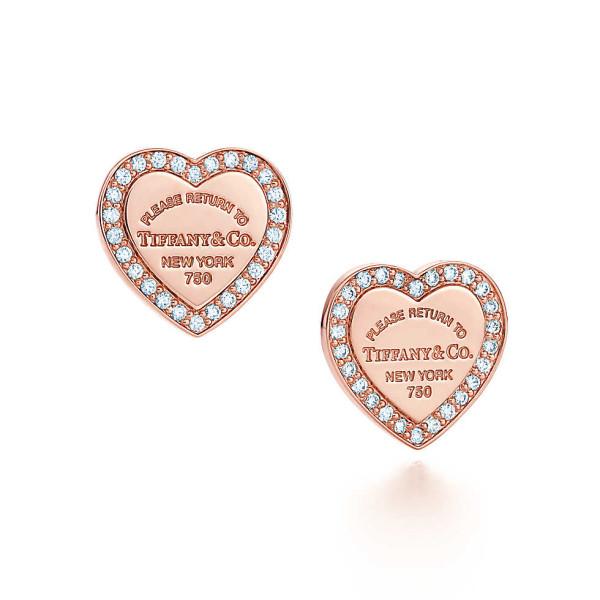 Серьги-сердечки Return to Tiffany, розовое золото, бриллианты (30945743)