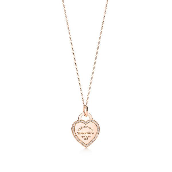 Подвеска-жетон в форме сердца Return to Tiffany, розовое золото, бриллианты (26883296)