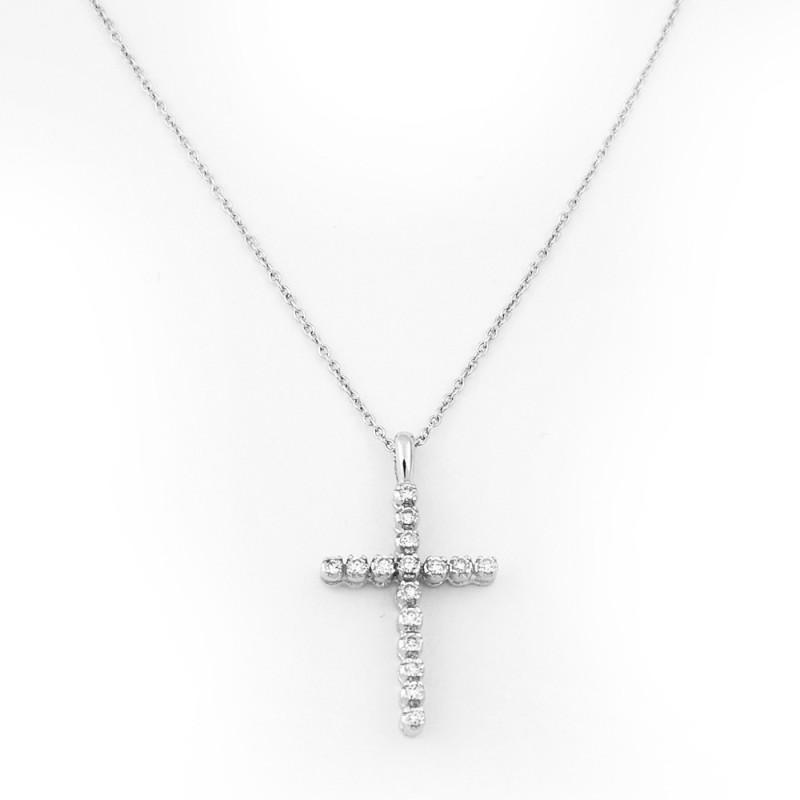 Крестик Tiffany & Co, белое золото 750, бриллианты