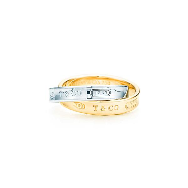 Переплетающиеся кольца Tiffany 1837, желтое золото, серебро (24601498)