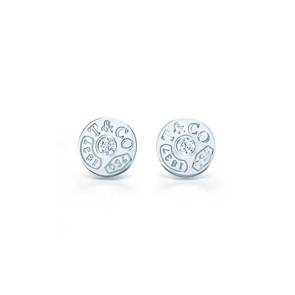 Круглые серьги Tiffany 1837, белое золото, бриллианты (33285663)