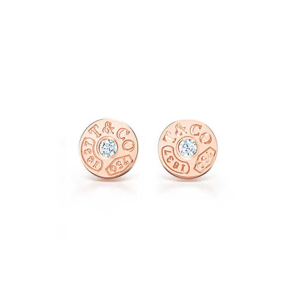 Круглые серьги Tiffany 1837, розовое золото, бриллианты (33285671)