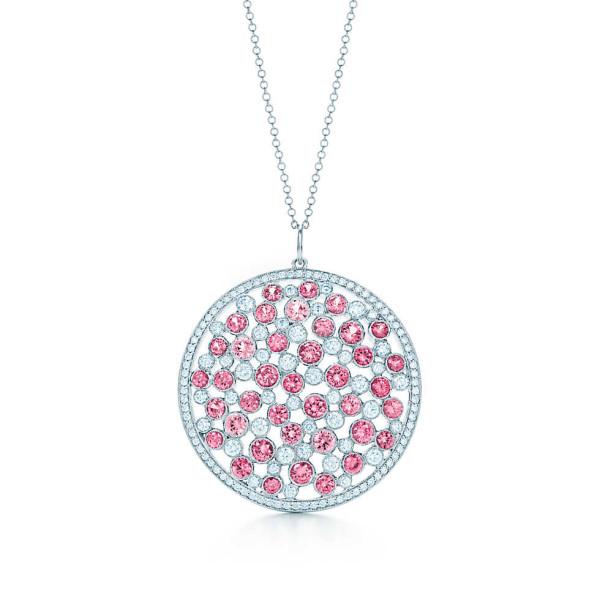 Подвеска-медаль Tiffany Cobblestone с розовыми сапфирами, платина бриллианты (30522303)