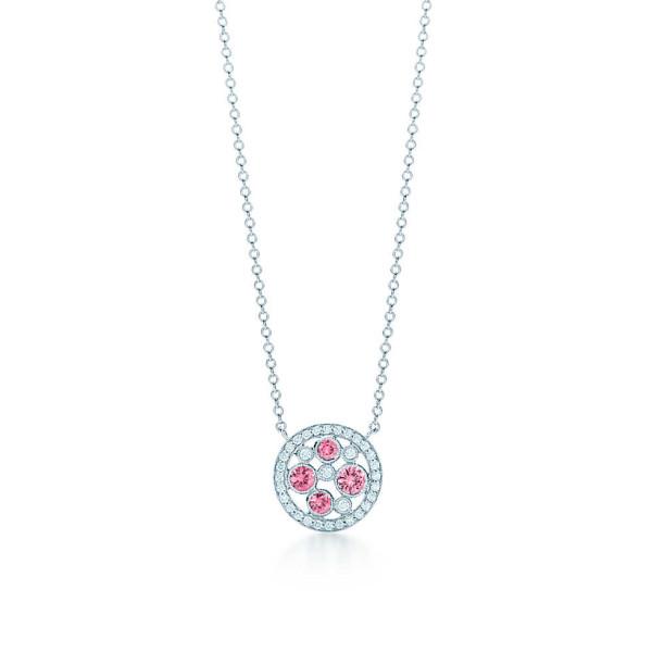 Подвеска Tiffany Cobblestone с розовыми сапфирами, платина бриллианты (30522311)