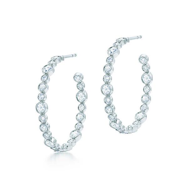 Серьги-кольца Tiffany Cobblestone, платина, бриллианты (30522273)