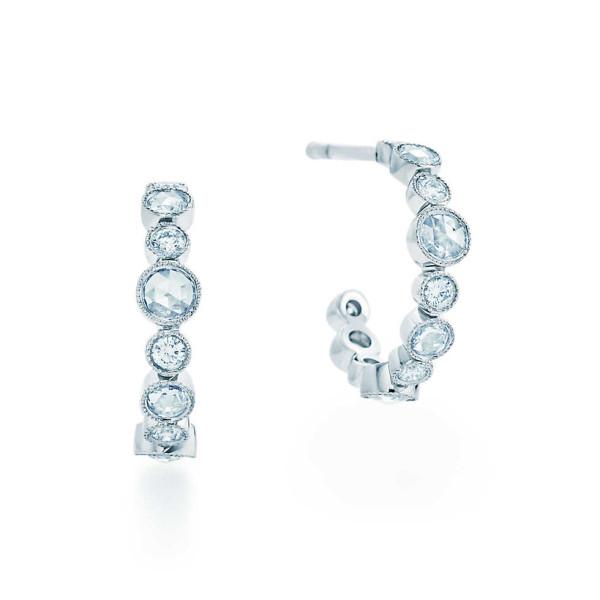 Серьги-кольца Tiffany Cobblestone, платина, бриллианты (31164745)