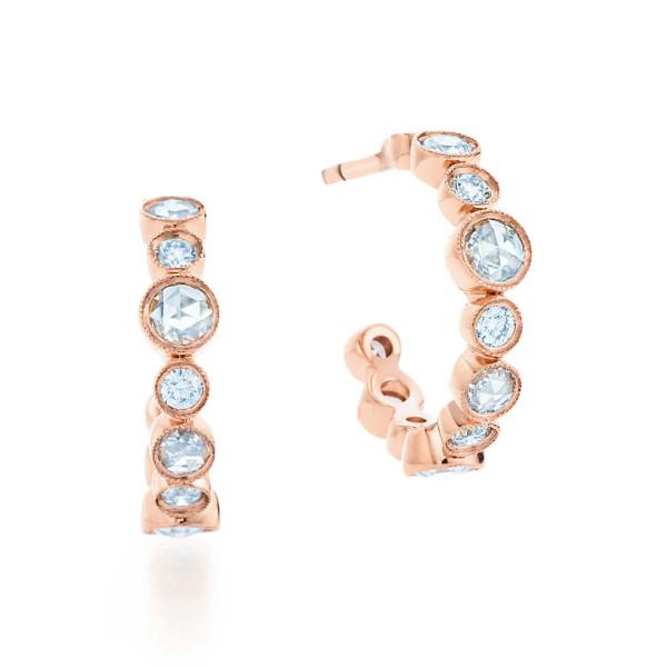 Серьги-кольца Tiffany Cobblestone, розовое золото, бриллианты (31164753)