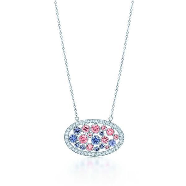 Подвеска Tiffany Cobblestone, платина, бриллианты, сапфиры (31176476)