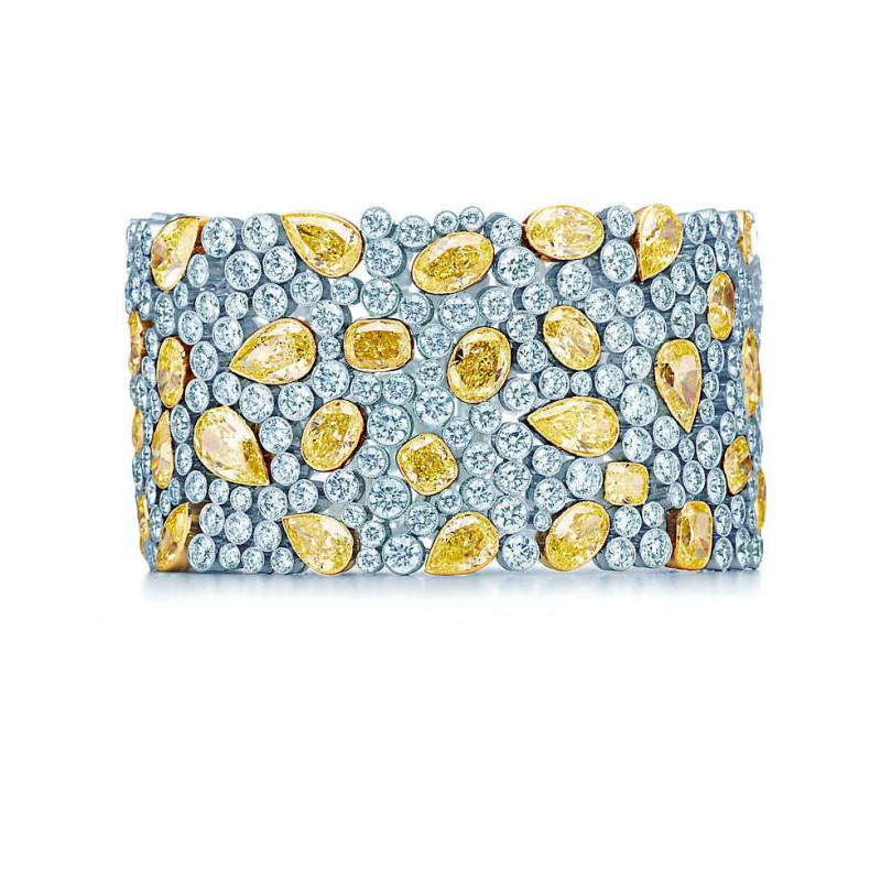 Браслет Tiffany Cobblestone, платина, желтое золото, бриллианты (28082312)