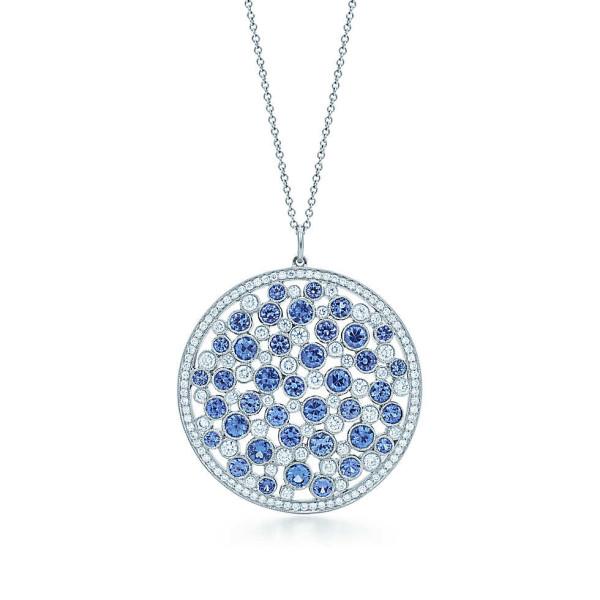 Подвеска-медаль Tiffany Cobblestone, платина, сапфиры, бриллианты (29006415)