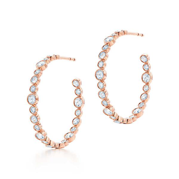 Серьги-кольца Tiffany Cobblestone, розовое золото, бриллианты (30522281)