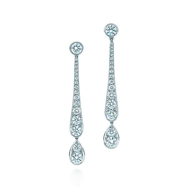Серьги с подвесками Tiffany Jazz, платина, бриллианты (26669413)