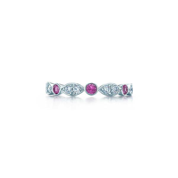 Кольцо Tiffany Jazz, платина, бриллианты, сапфиры (19145484)