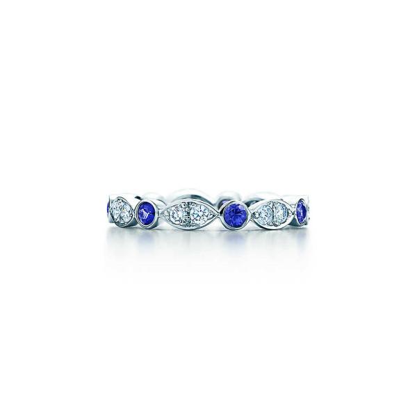 Кольцо Tiffany Jazz, платина, бриллианты, сапфиры (19287068)