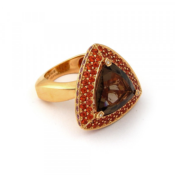 Кольцо Mauboussin, золото 750, топаз, сапфиры, бриллианты