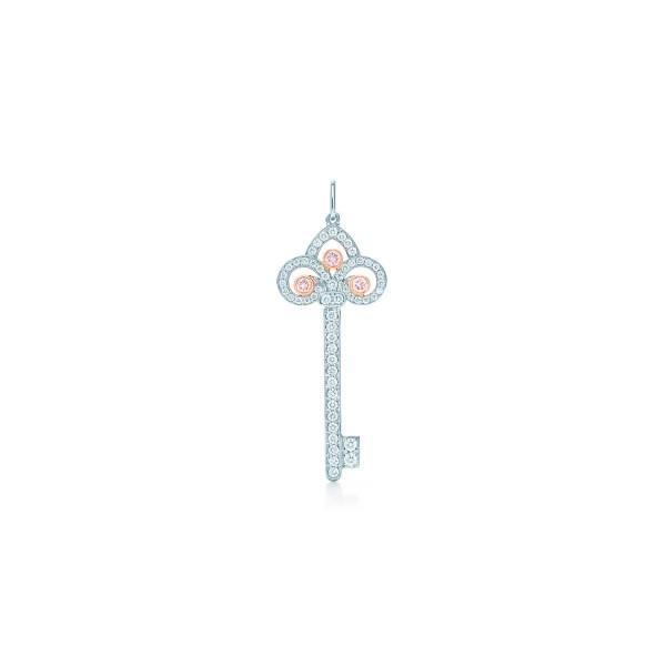 Подвеска-ключ Tiffany Keys, платина, розовое золото, бриллианты (29232547)